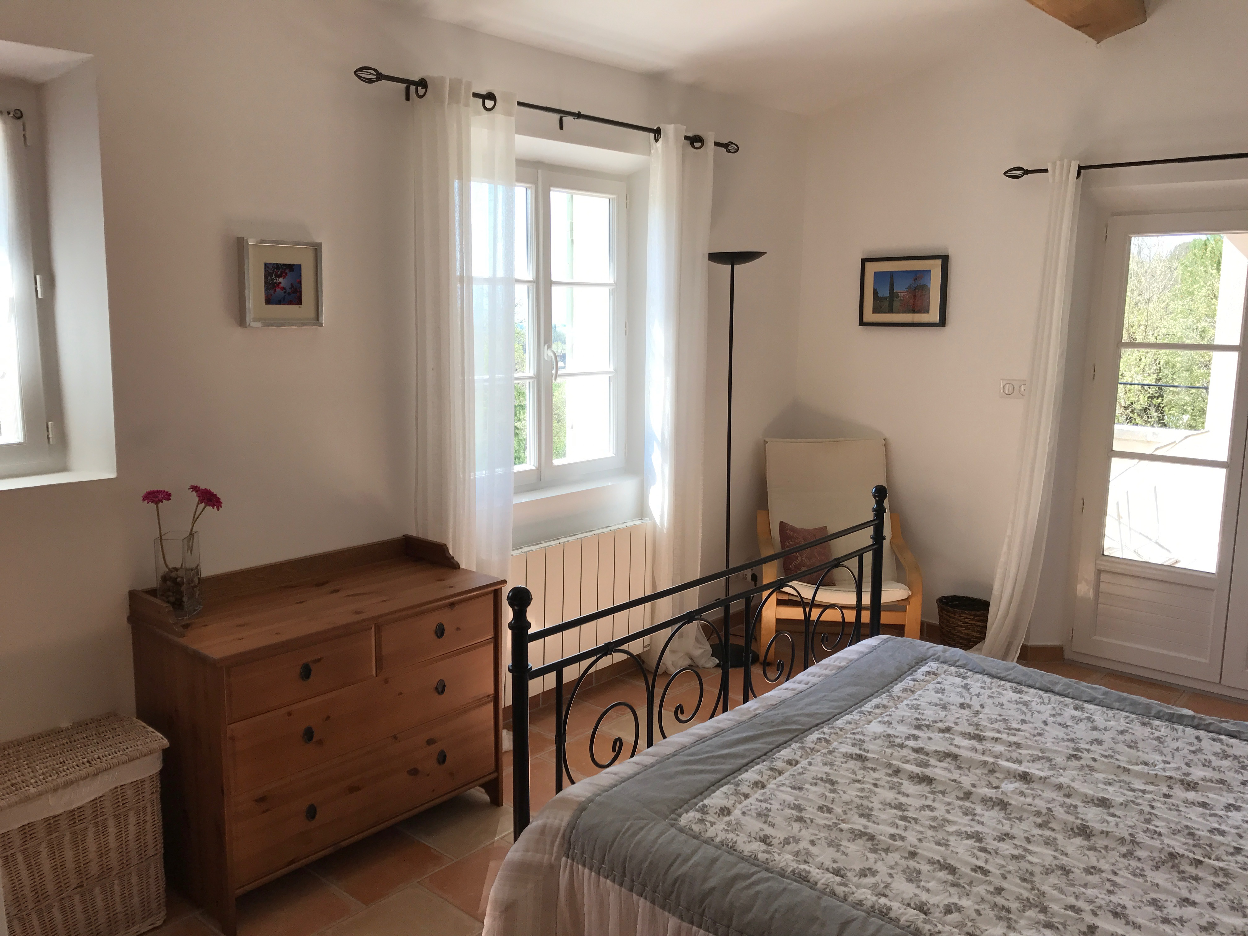 Provence gites private terrace pool france Master bedroom with terrace